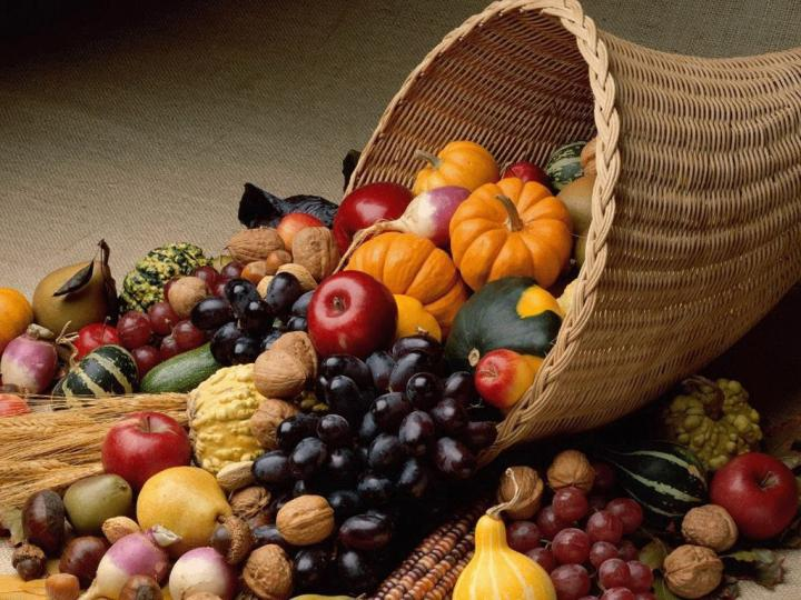 Happy Thanksgiving day Fruits In basket