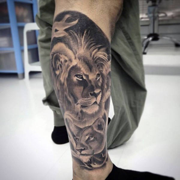 Lion And Lioness Tattoo On Leg