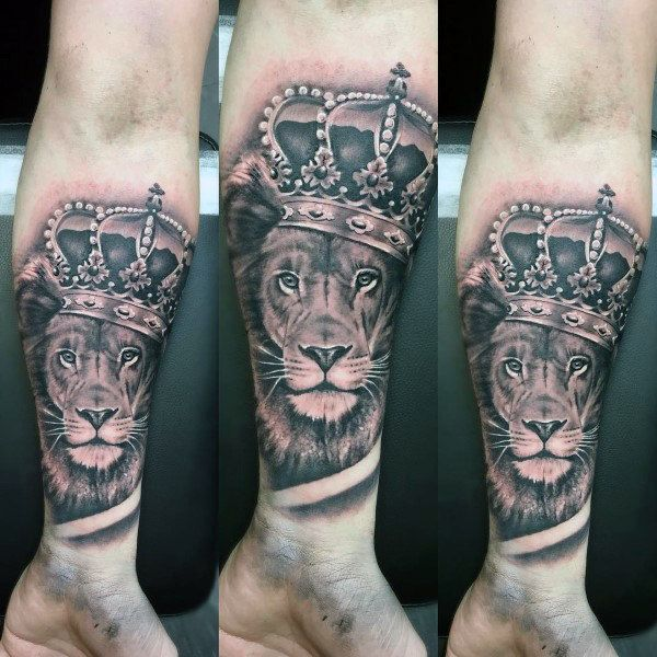 Lion With Crown Tattoo On Wrist