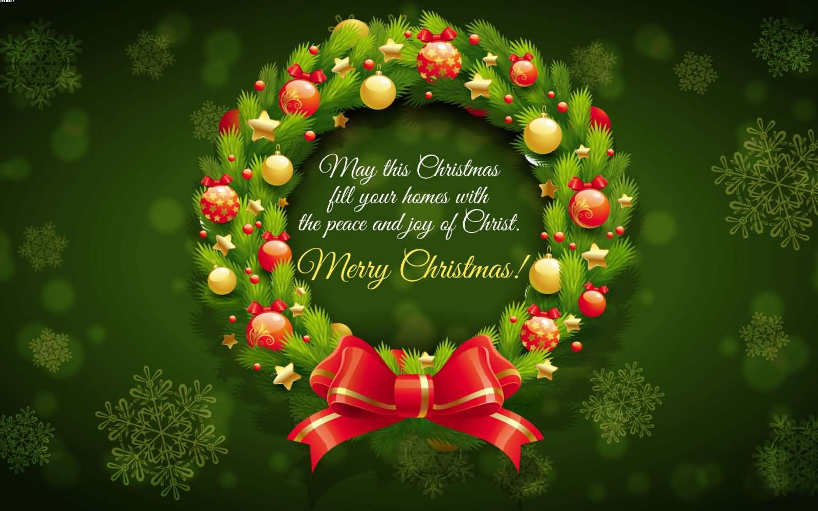 May This Christmas Fill Your Homes With The Peace And Joy Of Christ Merry Wallpaper