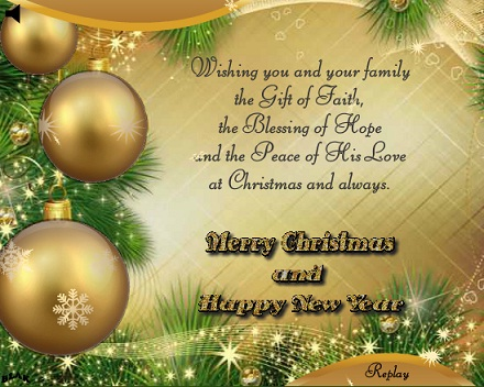 70 most beautiful merry christmas 2017 greeting ideas merry christmas and happy new year golden balls greeting card m4hsunfo