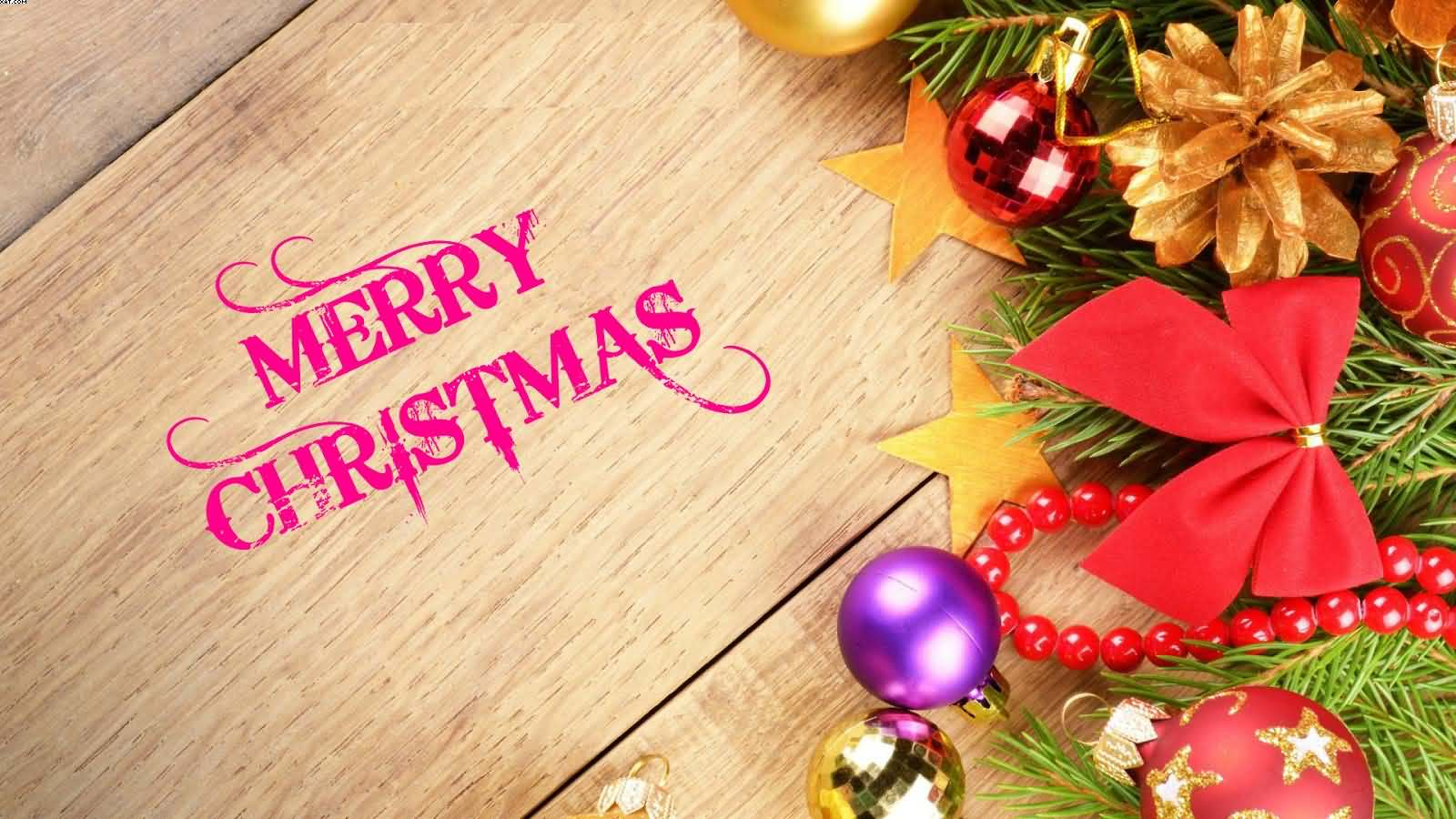 Merry Christmas beautiful stars and balls tree wallpaper