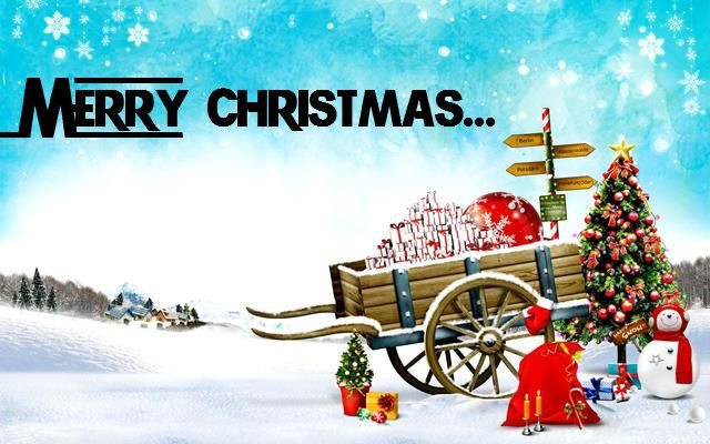 7fe8944d1d Merry Christmas cart with gifts and balls picture