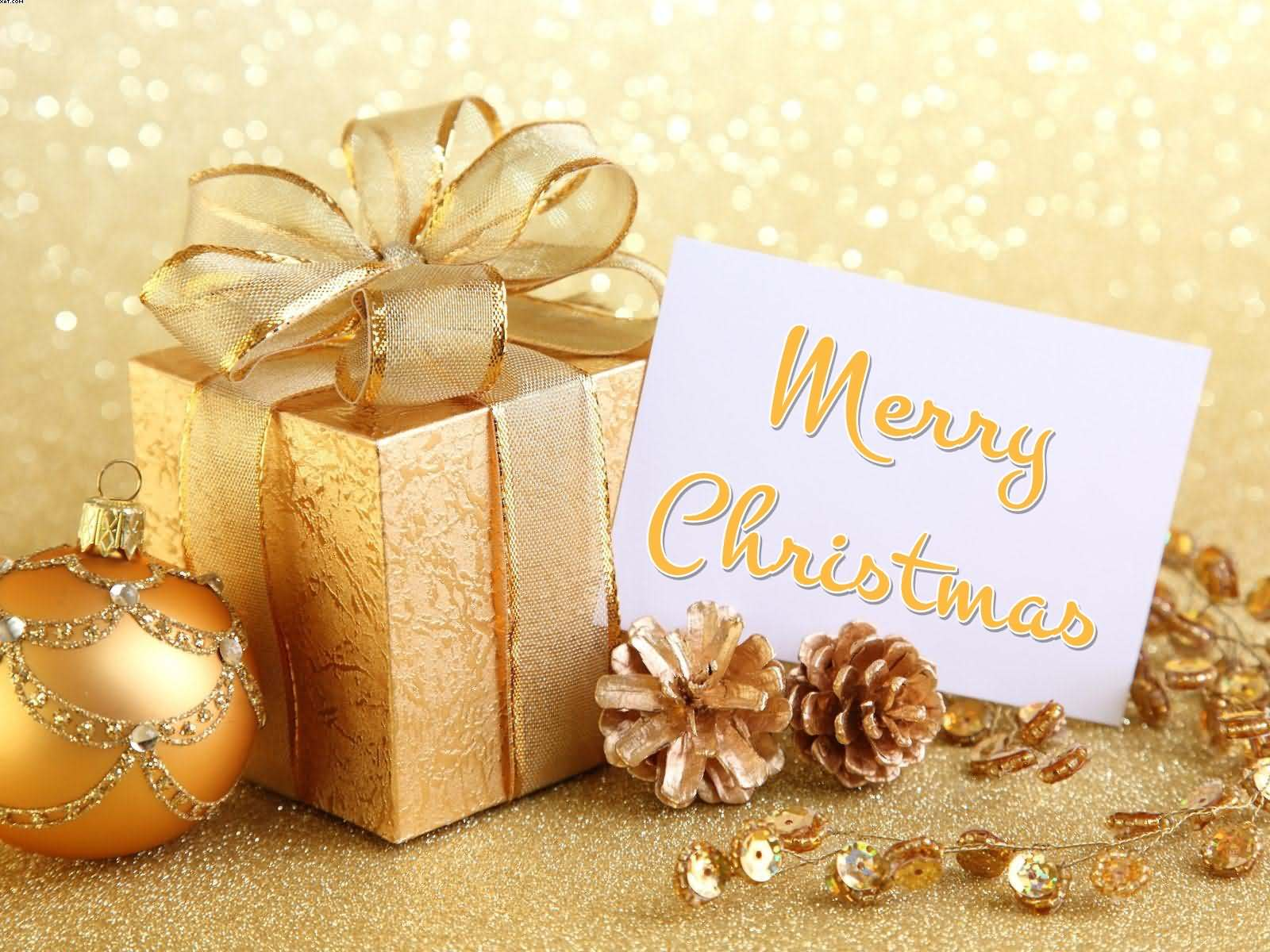 Merry christmas gift and golden ball wallpaper negle Choice Image