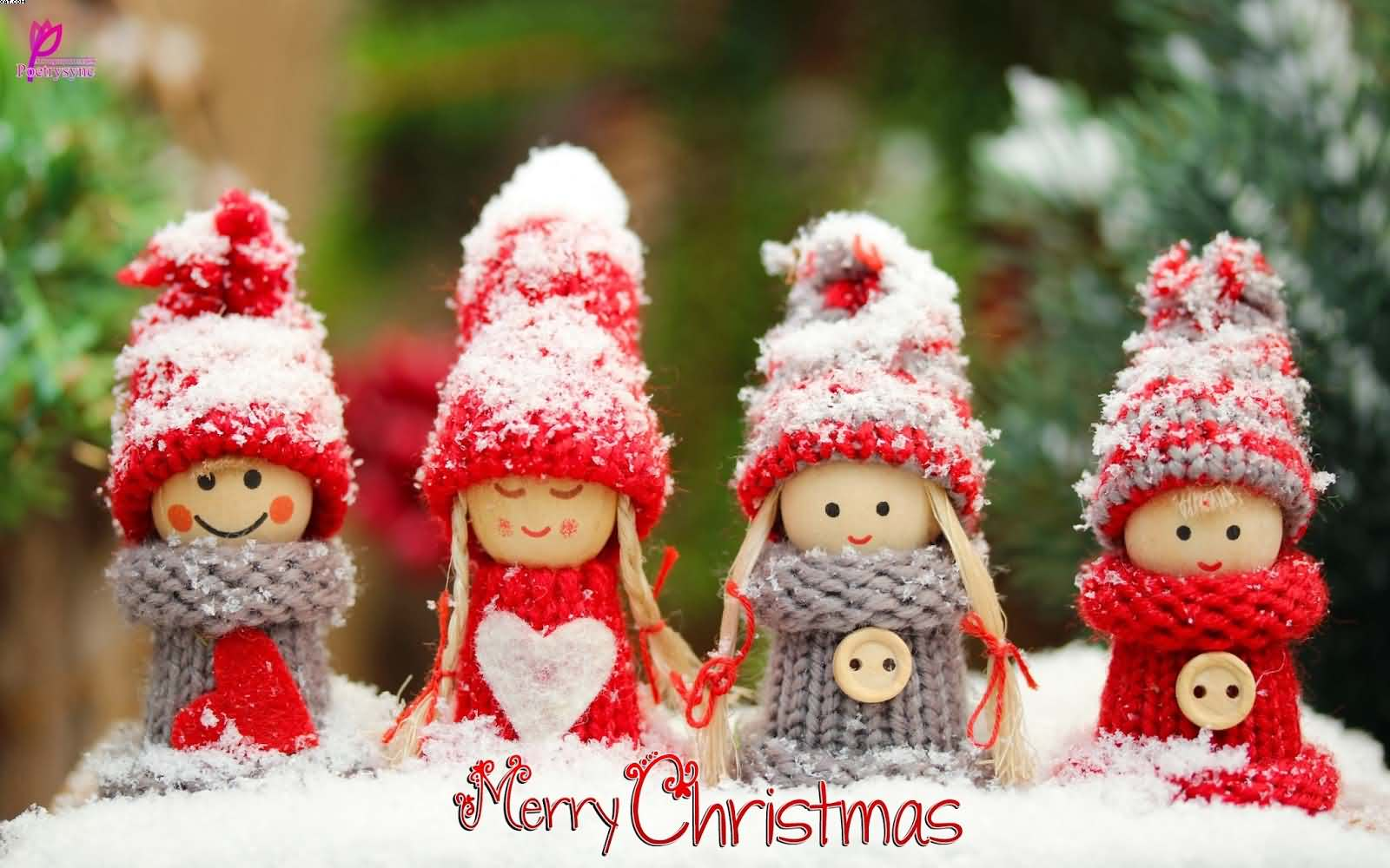 Merry Christmas wishes with beautiful dolls wallpaper