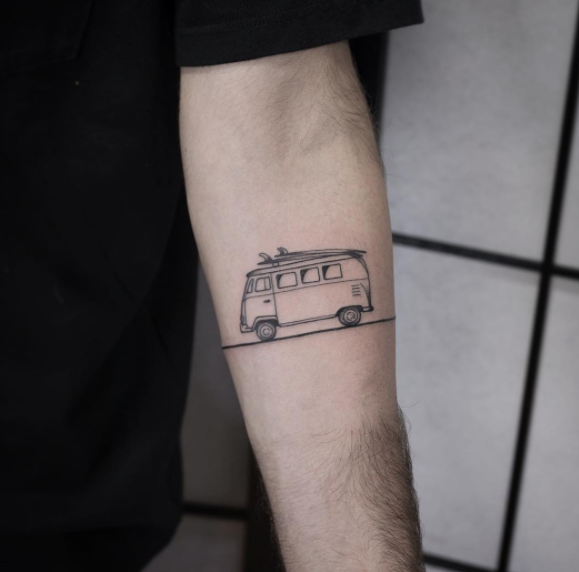 Mini Bus Tattoo On Forearm For Travel Lovers