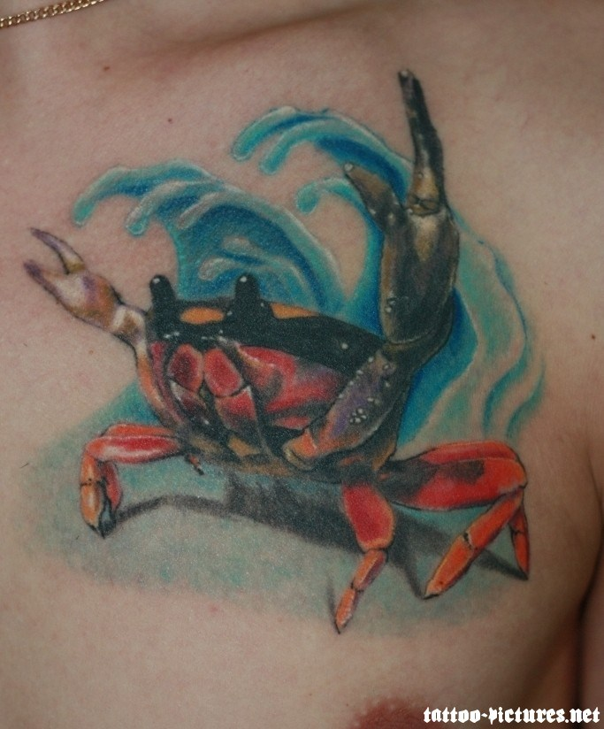 Nice Crab With Water Wave Tattoo On Chest