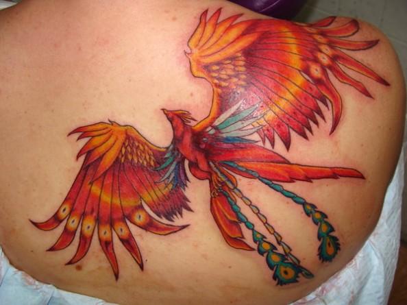 Orange Flying Phoenix Tattoo On Back Shoulder