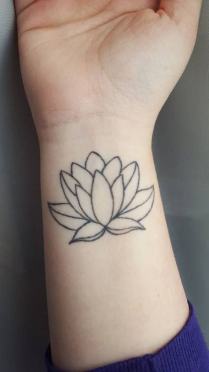 Outline Lotus Flower Tattoo On Right Wrist