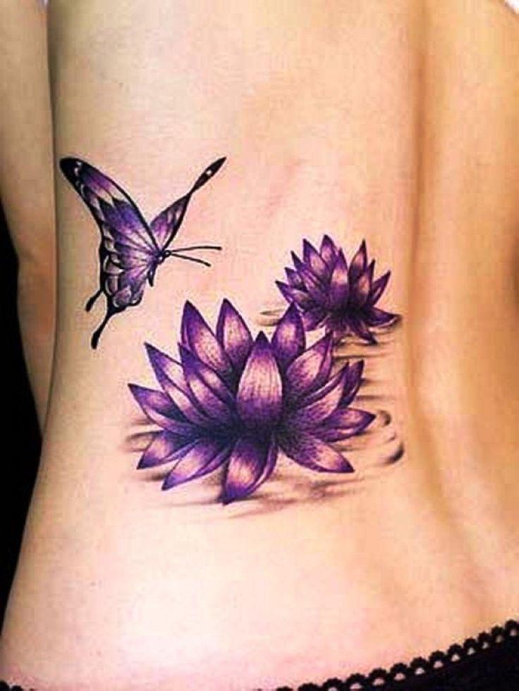 80 most beautiful lotus flower tattoo design ideas for Purple butterfly tattoo