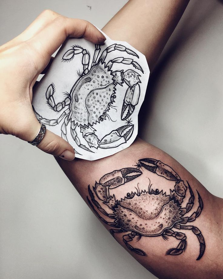 Realistic Crab Tattoo On Bicep