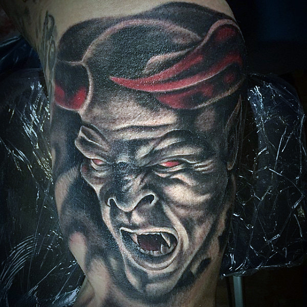 ed5a814b6 Roaring Black & Gray Demon With Red Horns Tattoo For Men