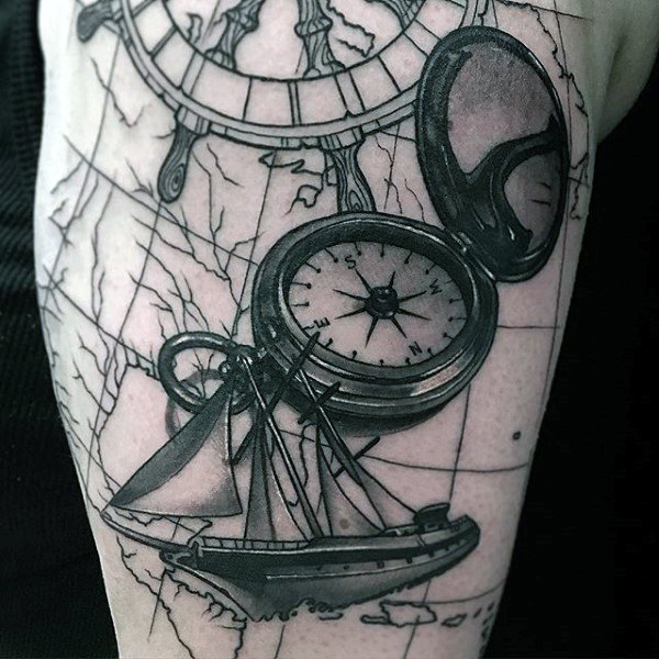 101 best travel tattoo designs and ideas sailing ship with world map compass tattoo gumiabroncs Choice Image