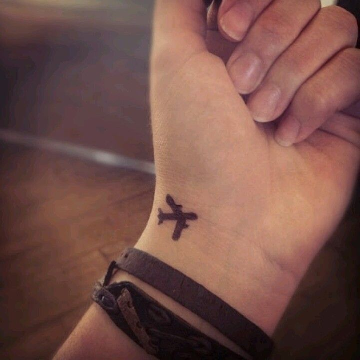 Small Airplane Wrist Travel Tattoo