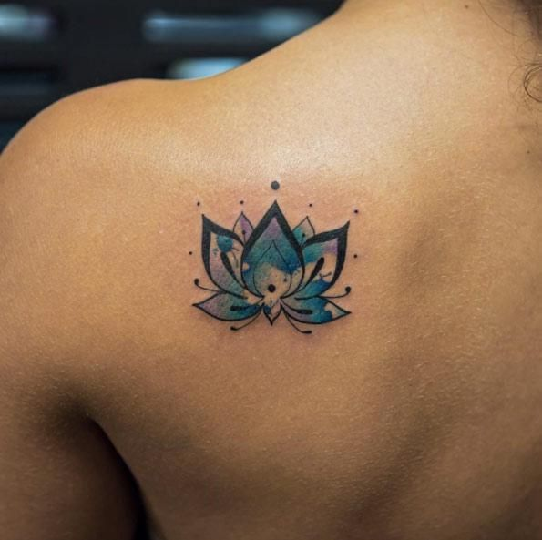 Small blue lotus tattoo on back shoulder for Lotus flower and butterfly tattoo designs