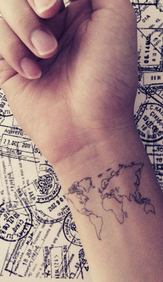 Travel Lover World Map Tattoo Design For Wrist