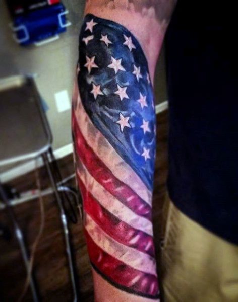 Tribal American Flag Tattoo On Forearm
