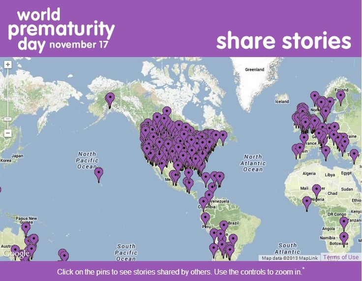 World Prematurity Day November 17 Share Stories Map in Background