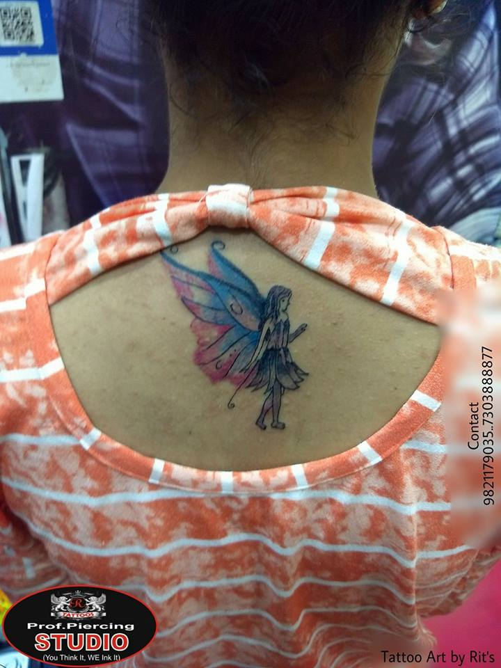 Colorful Angel Tattoo On Upper Back By R tattoo studio