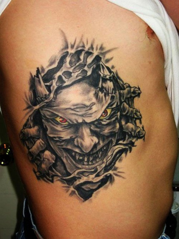 3d Grey Ink Devil Ripping Through Skin Tattoo Representing Inner Devil
