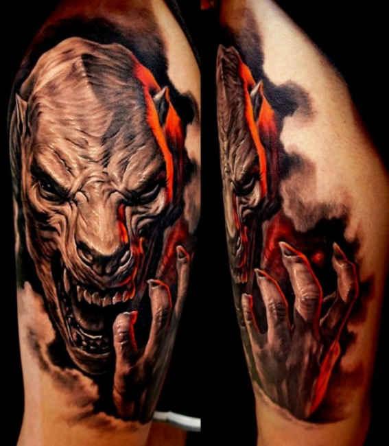 3d realistic horrifying devil ripping skin tattoo on half sleeve. Black Bedroom Furniture Sets. Home Design Ideas