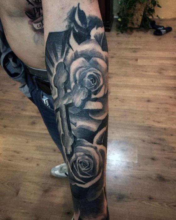 Amazing Dark Roses & Cross Composition Tattoo On Forearm
