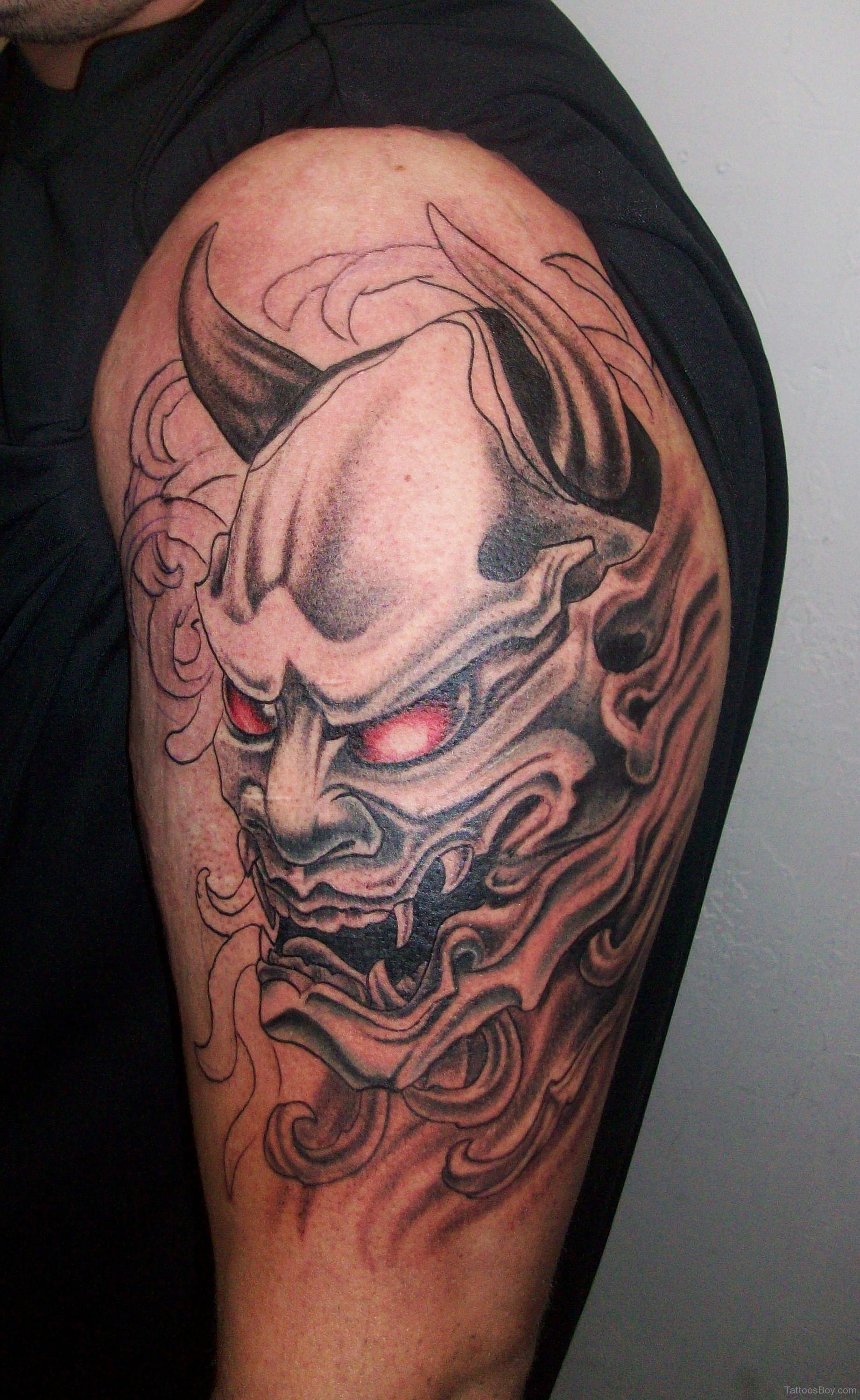 111 devil tattoos designs ideas with meanings for Demon half sleeve tattoos