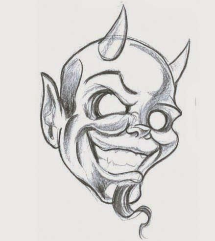 Black And Grey Smiling Devil Face Tattoo Design