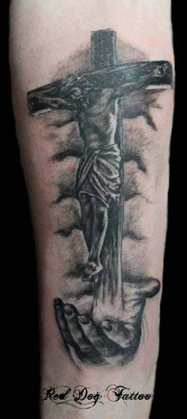 Black Ink Jesus On Cross Tattoo On Forearm