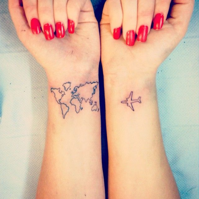 16 best couple travel tattoo ideas designs black outline map airplane travel wrist tattoo idea for couples gumiabroncs Gallery