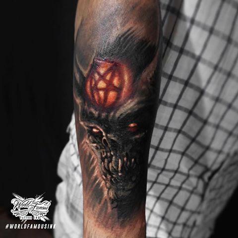 Dark Art Horror Devil Tattoo On Arm