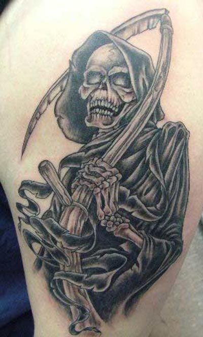 Dark Grey Ink Grim Reaper Death & Devil Tattoo