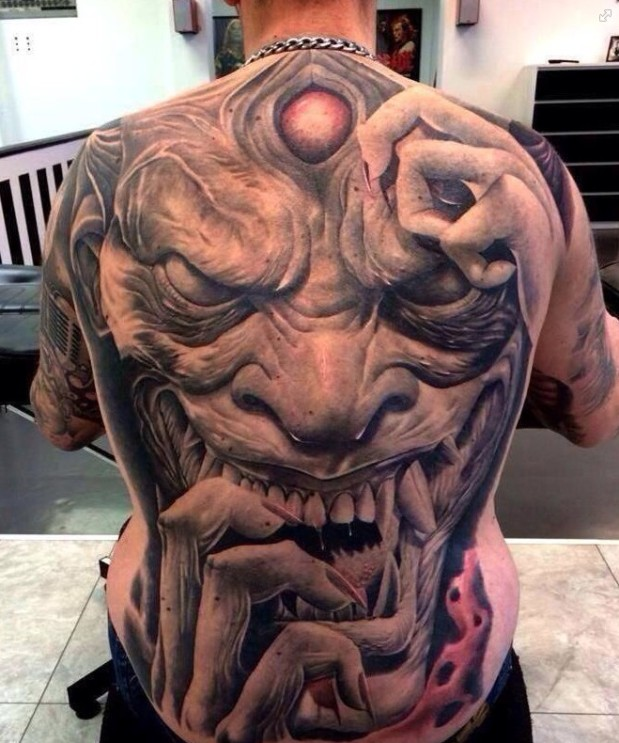 Extremely Scary Grey Ink Devil Tattoo On Full Back