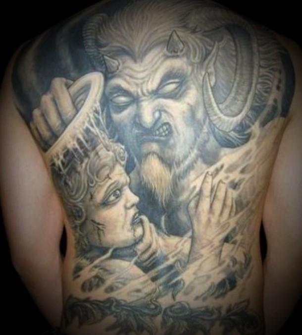 Grey Ink Devil & Angel Tattoo On Full Back
