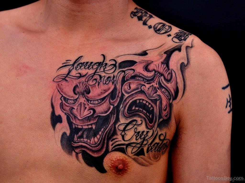 f422e75e9 Laugh Now – Cry Later – Wording With Laughing & Crying Devils Tattoo On  Chest For Men