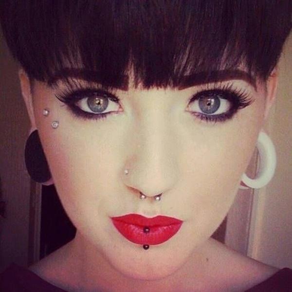 Nose, Labret & Anti Eyebrow Piercing