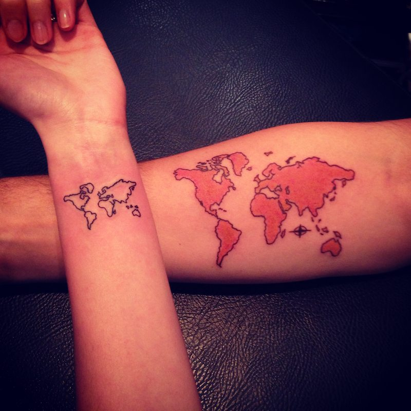 16 best couple travel tattoo ideas designs world map matching travel tattoo for couples gumiabroncs Gallery