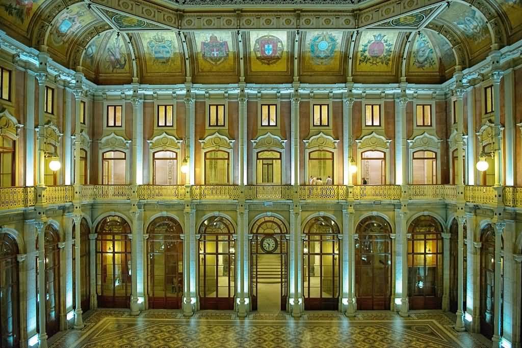 Adorable Interior View Of The Palácio da Bolsa In Porto
