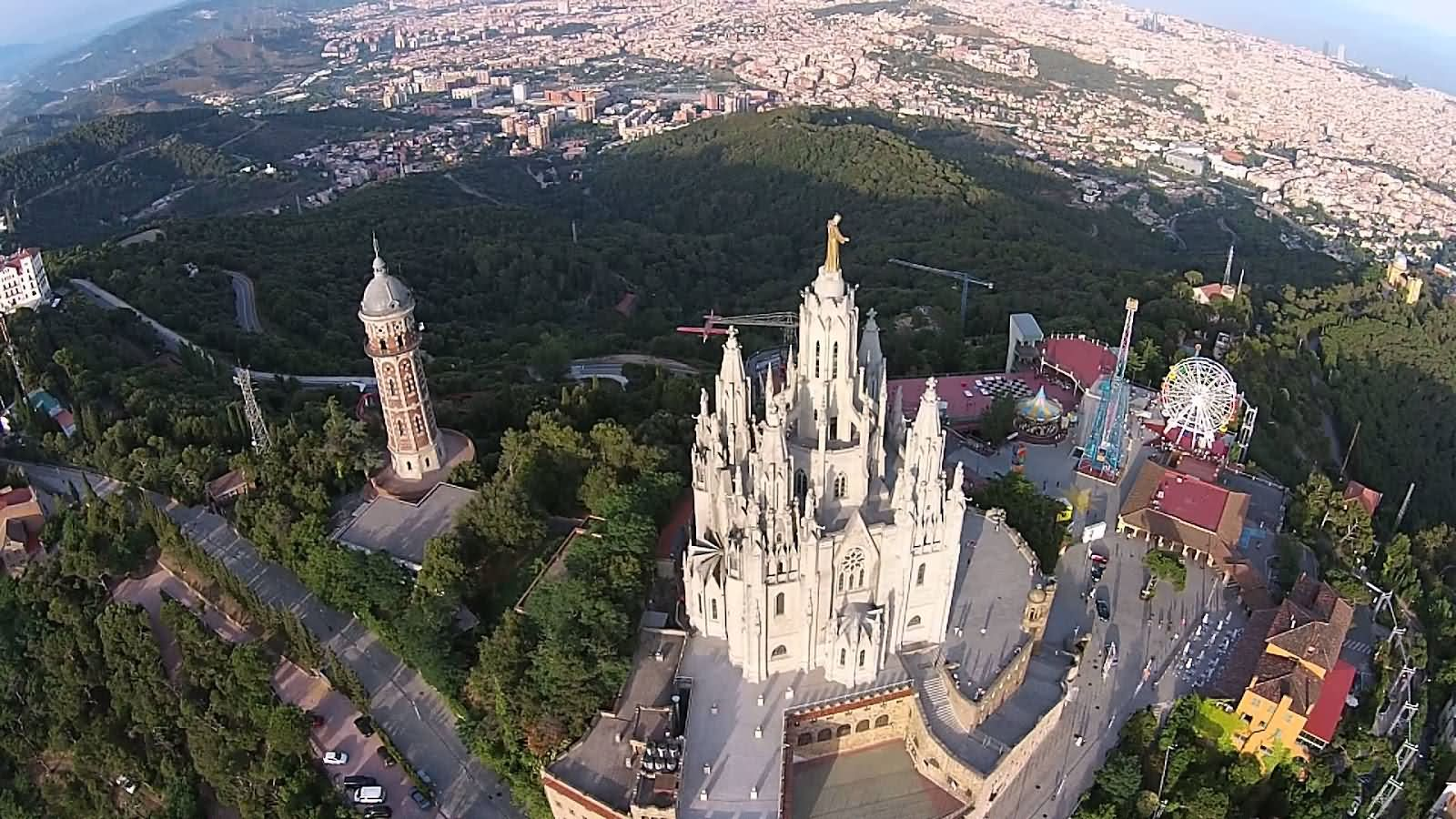 Aerial View Of Sag-rat Cor Church At Tibidabo hill