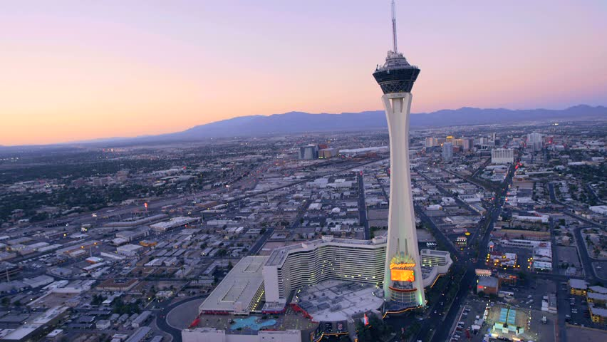 Aerial View Of The Stratosphere Tower At Dusk