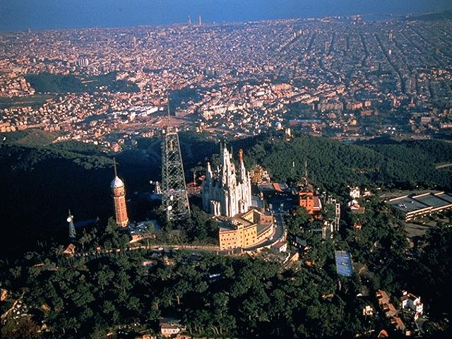 Aerial View Of The Tibidabo Hill In barcelona, Spain