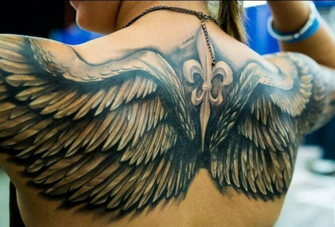 Amazing Grey Ink Angel Wings Tattoo On Full Upper Back