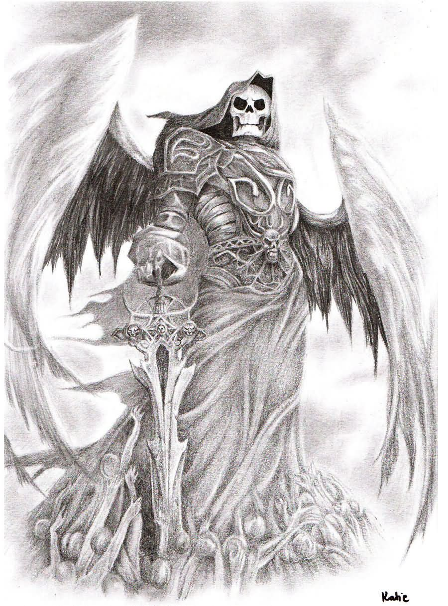 Amazing skull faced angel of death tattoo design with white background