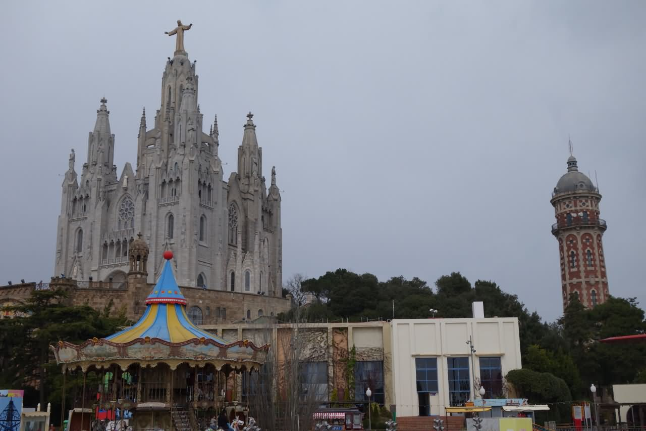 Amusement park And Church At Tibidabo Hill