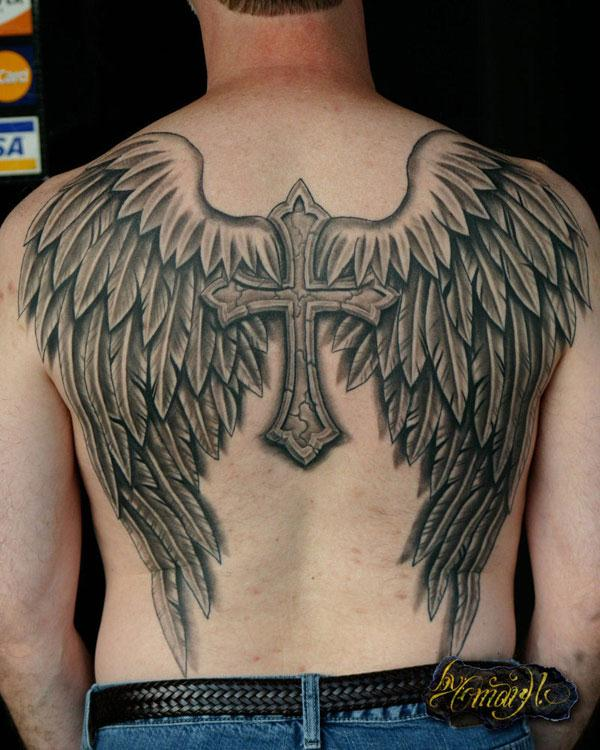 Angel Wings With Cross Tattoo Design On Man Back
