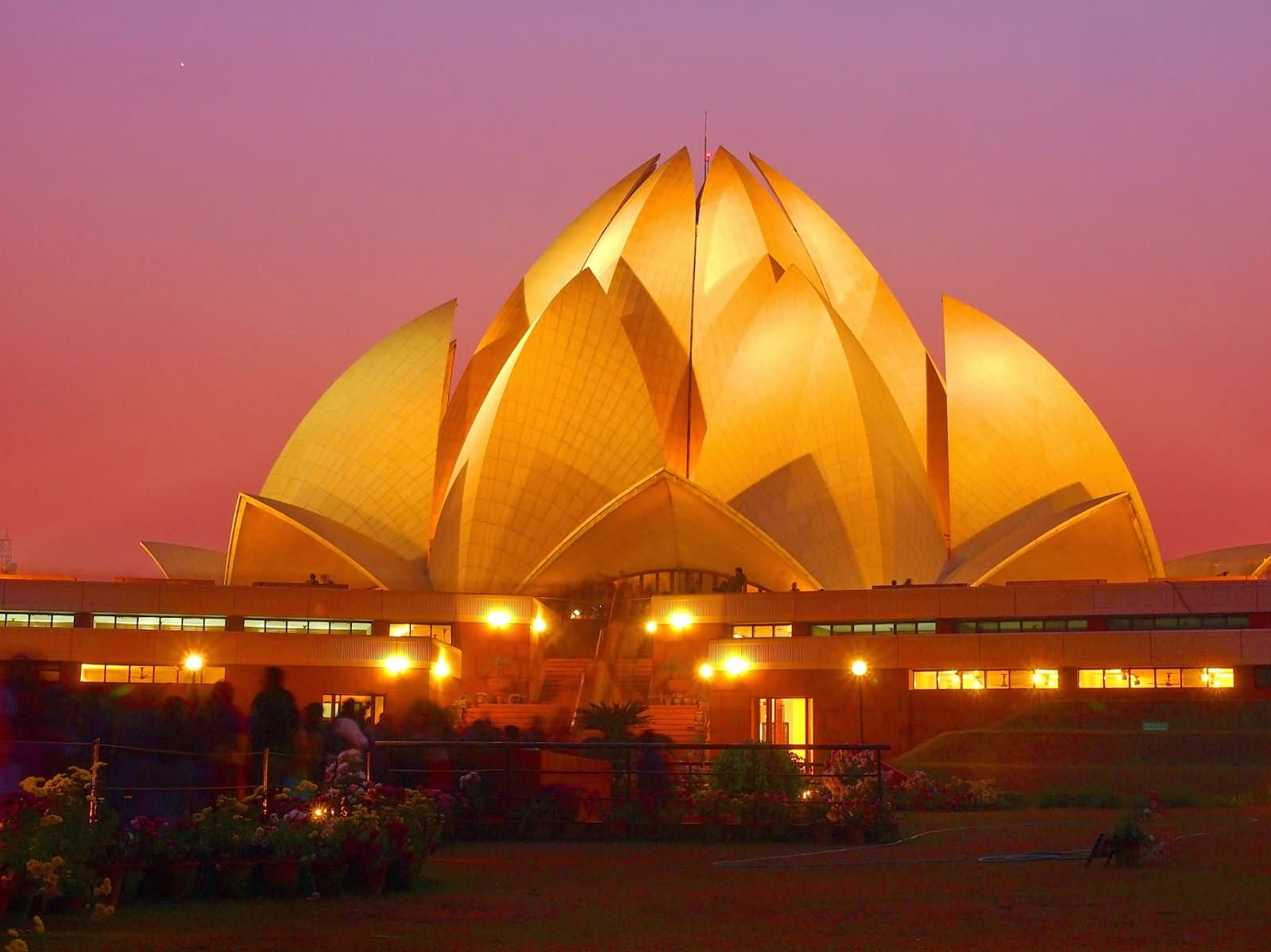 Bahai lotus temple with night lights for The lotus temple