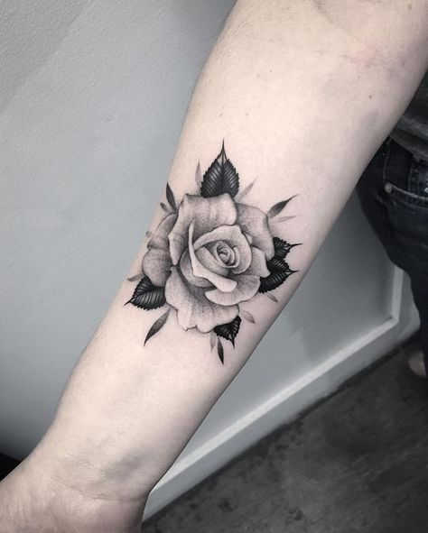 Beautiful black grey rose tattoo on forearm for Black and gray rose tattoos