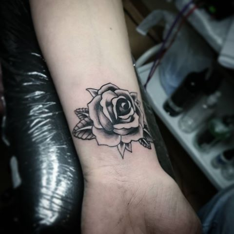 Beautiful Black Grey Rose Tattoo On Wrist