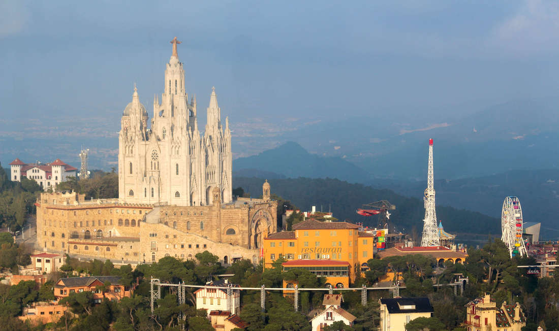 Beautiful View Of Sagrat Cor Church And Amusement Park At Tibidabo Hill