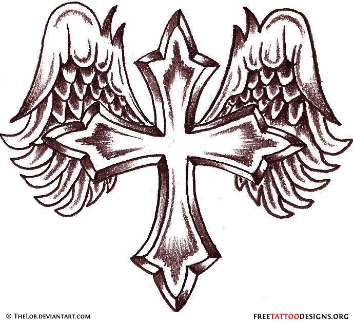 classic cross with angel wings tattoo design by thelob on deviantart rh askideas com Crossed Angel Wings with Cross Tattoo Designs Cross with Angel Wings Tattoo Design Outline